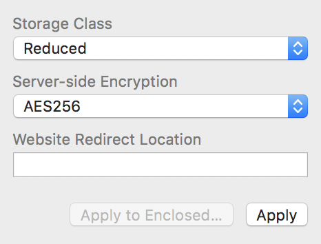 Encryption and Storage Class